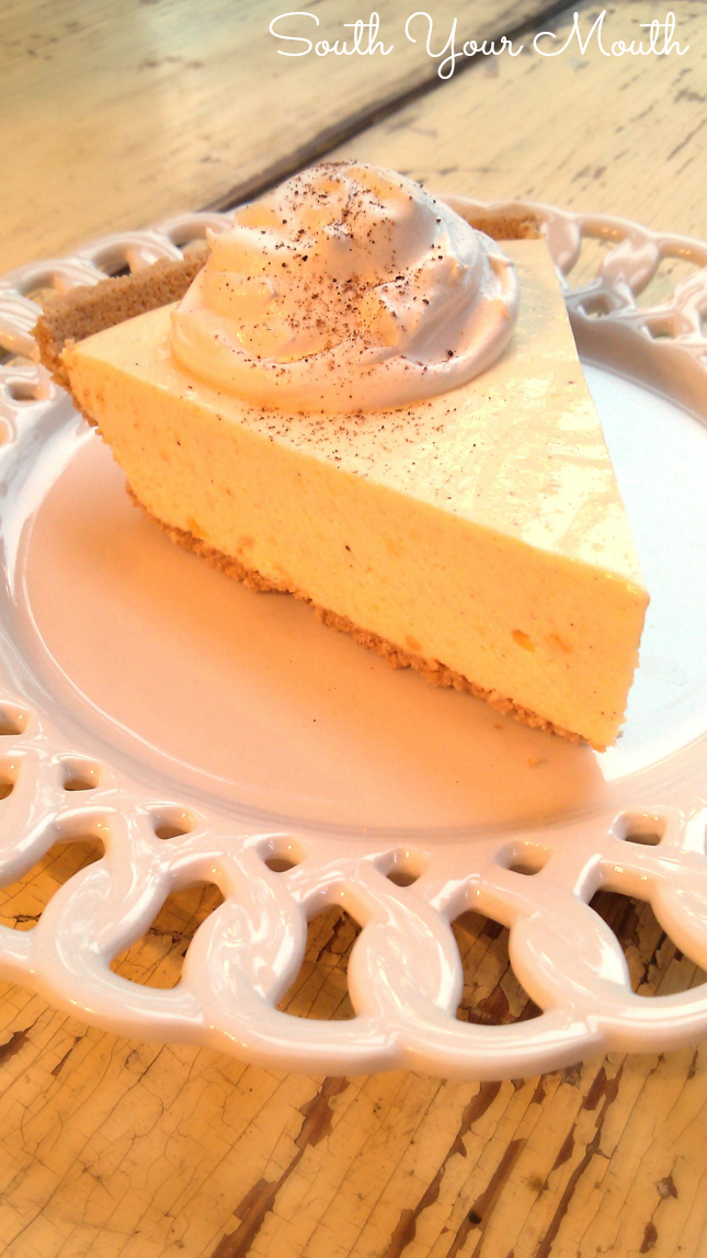 Eggnog pie! This super easy recipe uses real eggnog and sets up like a no-bake cheesecake. This is a must-have for your Christmas dessert table!