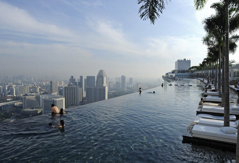 Pool on the 57th floor of marina bay sands casino in singapore information in - Singapore marina bay sands infinity pool ...
