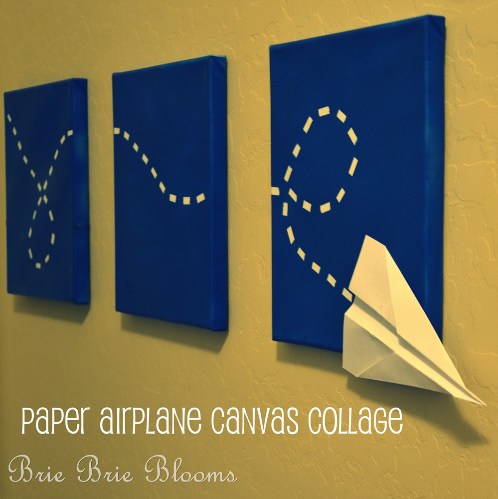 Paper airplane canvas collage maternity leave guest post for Newspaper canvas art