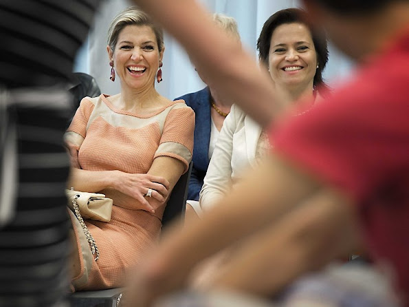 Queen Maxima of The Netherlands as Honorary President of the Platform Ambassadors Music Education made a working visit to the Fontys High School Child and Education in Den Bosch