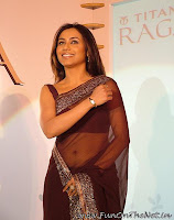 Rani Mukharji in Brown transparent saree