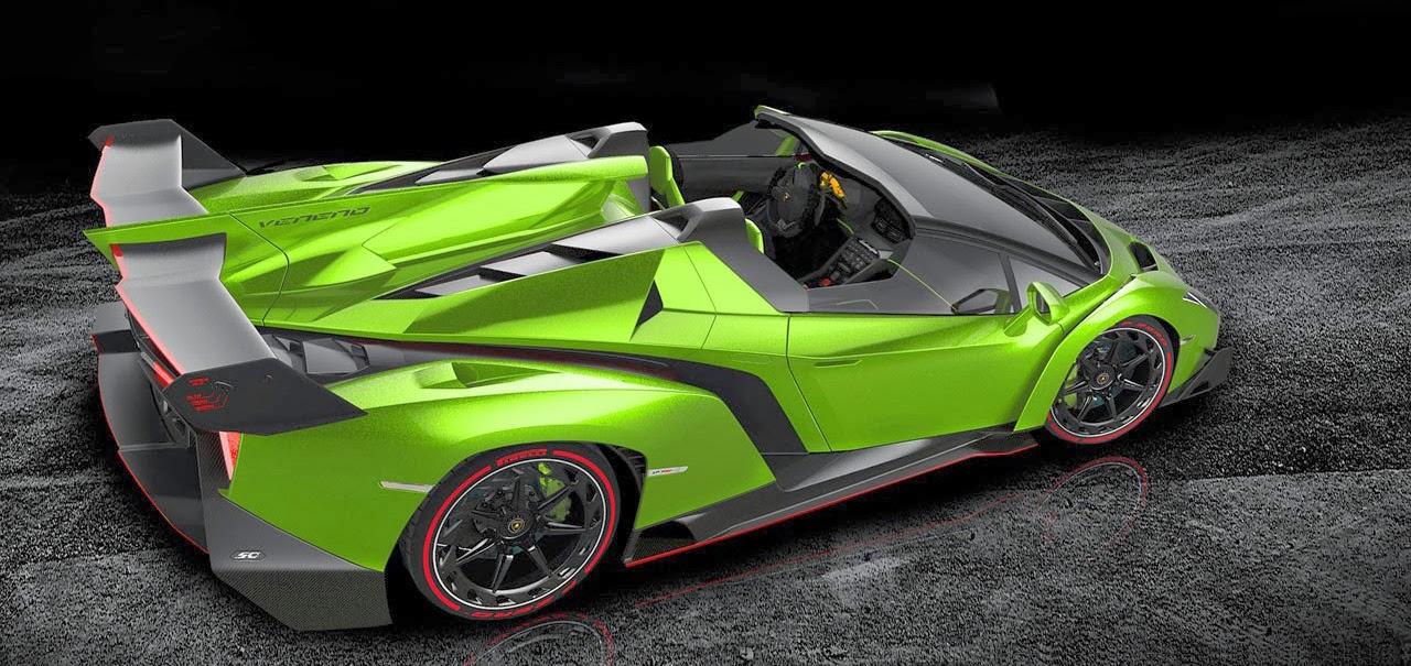Mobil Keren Lamborghini Veneno Roadster Green Top Back View