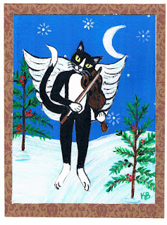 Tuxedo Cat Angel Christmas card from KimbasCritters