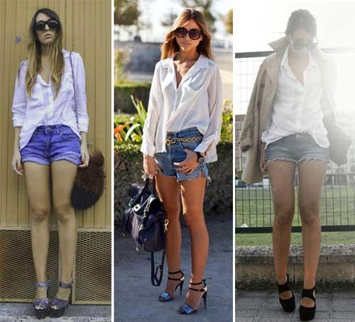 Moda e Estilo LookCamisa social +Short jeans+Scarpin azul!