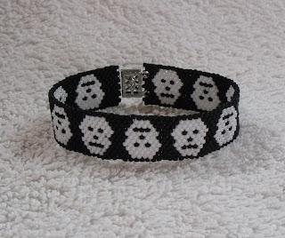 Skull Bracelet made from seed beads