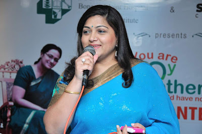 Kushboo Sundar In Saree PhotosActress Kushboo Blue Saree Stills hot photos