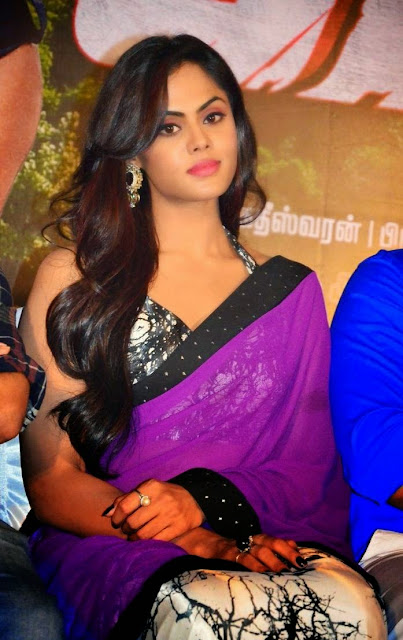 Karthika Latest Stills in Viloet Saree