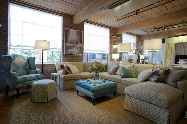 Lisa mende design thibaut high point market showroom for Comfy living room sets