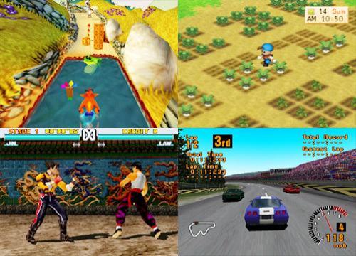 Crash Bandicoot, Harvest Moon, Tekken, Gran Turismo