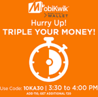Mobikwik is giving Rs 30 by adding Rs 10 to wallet and get rs 20 as cashback :buytoearn