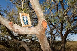 Small framed religious print left in AZ desert by Mexican immigrant (c) John Ashley
