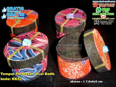 Tempat Perhiasan Oval Batik Karton Kain Batik