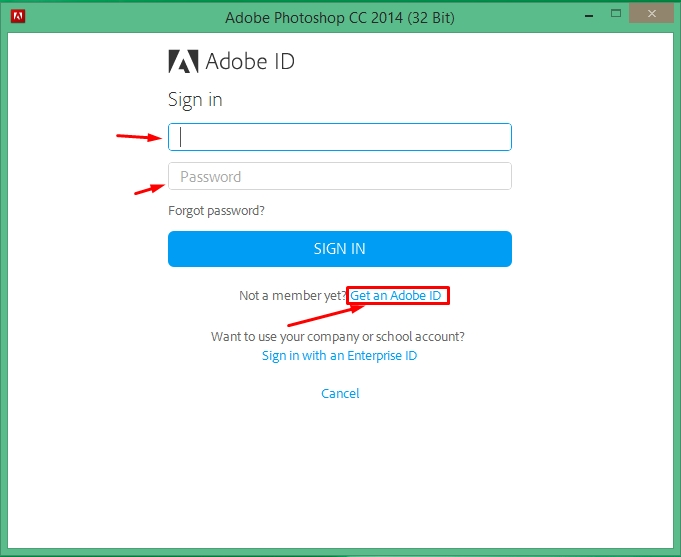 how to get adobe id and password