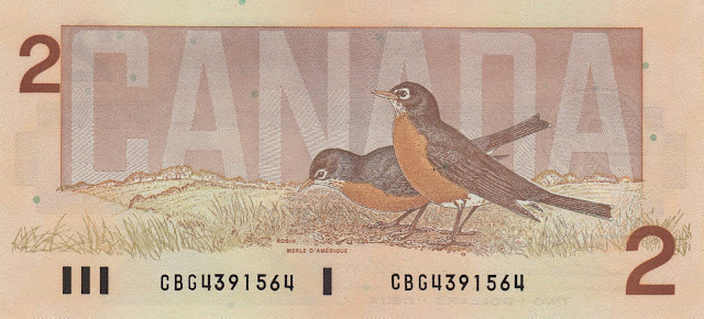 Canada money currency 2 Canadian Dollars banknote 1986 Birds, American robins