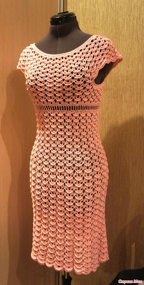 Платье крючком, схема, crochet dress