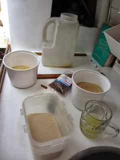 Wasser, Reis, Zucker, Germ, Rosinen, Zitrone, Zimtstange und Gewürznelken