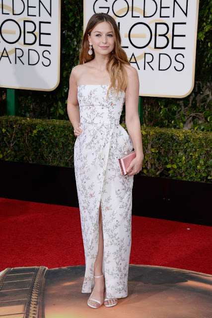Melissa Benoist Monique Lhullier Golden Globes 2016