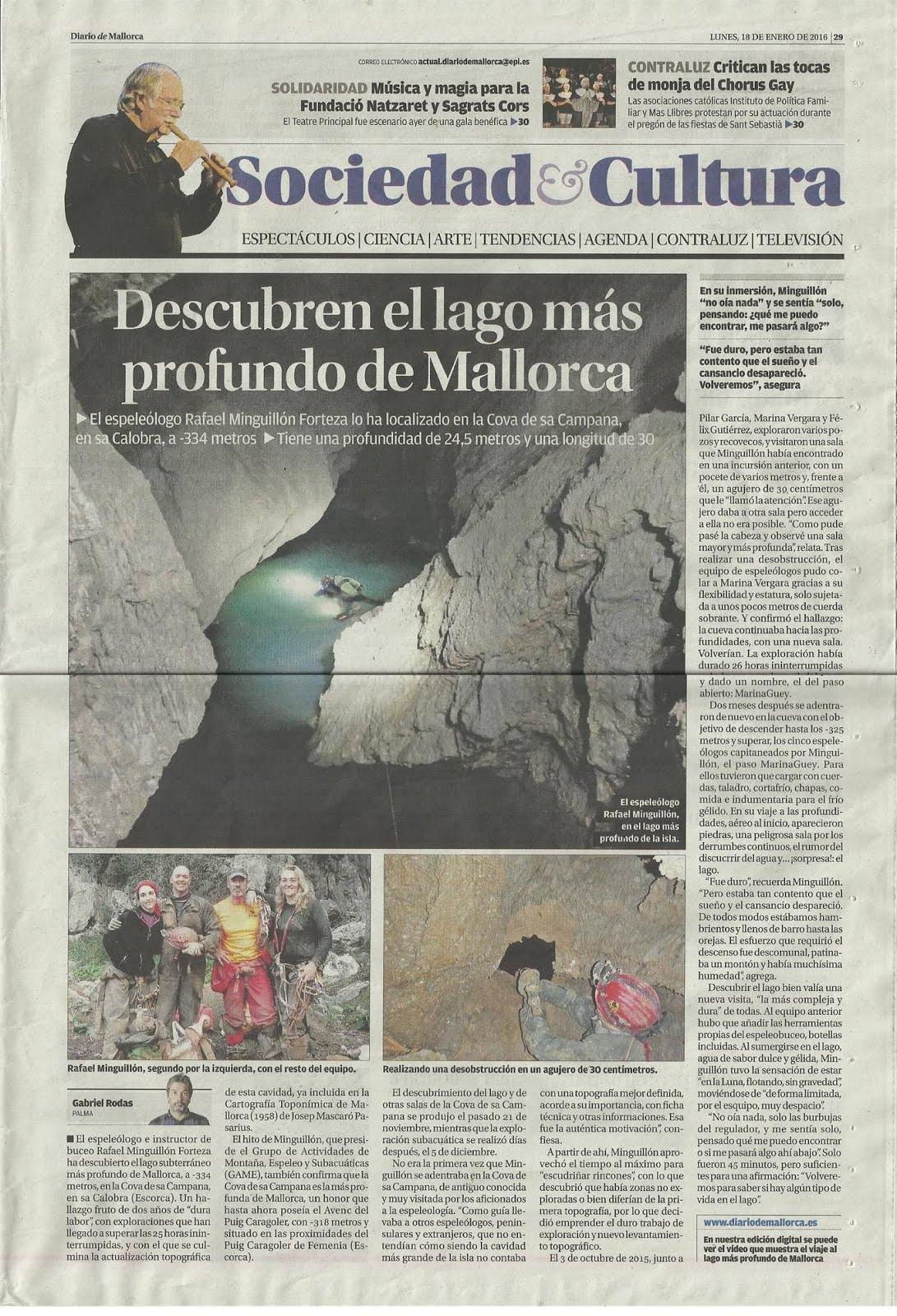 LAGO COVA DE SA CAMPANA (1) , EL HALLAZGO
