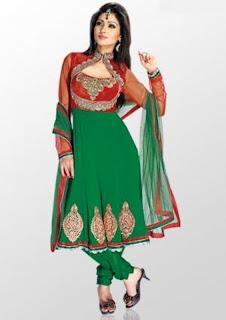 Green Anarkali Shalwar Kameez Designer Neck