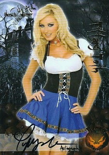 Tiffany Toth is wearing her German tavern waitress costume