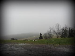 Blick von Neustadt am Rennsteig ins nebelige Tal