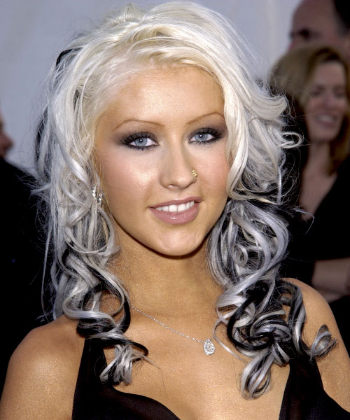 two colored hairstyles. christina aguilera hairstyles.