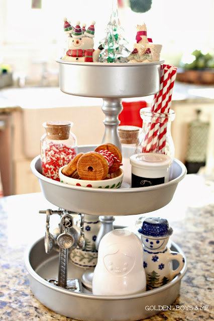 Tiered kitchen stand at Christmas-www.goldenboysandme.com