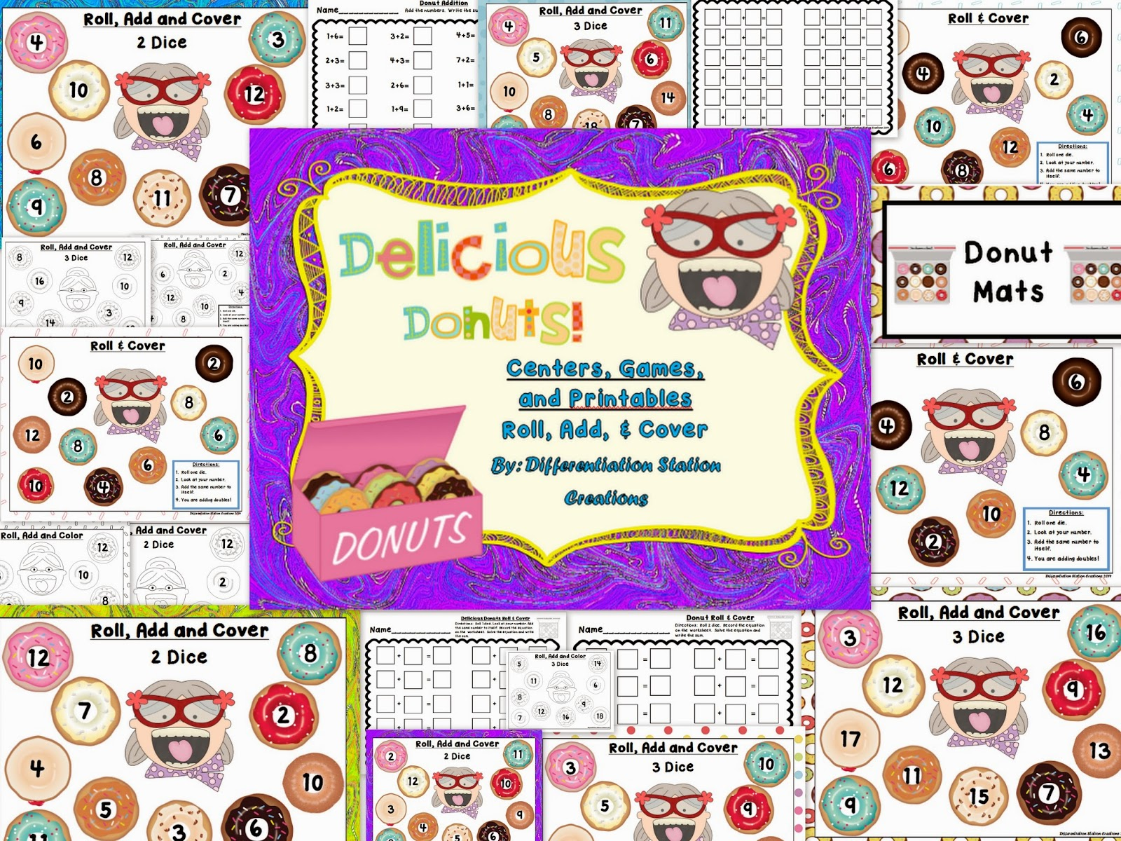 http://www.teacherspayteachers.com/Product/Delicious-Donuts-Roll-Add-Cover-Centers-Games-and-Printables-1144890