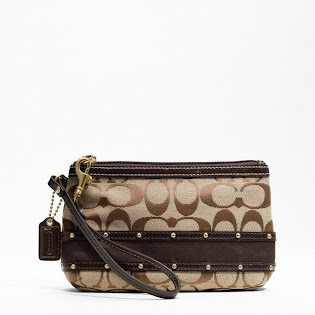 Ready Stock Coach Studded Sateen Stripe Medium Wristlet #F48114 Khaki Mahogany