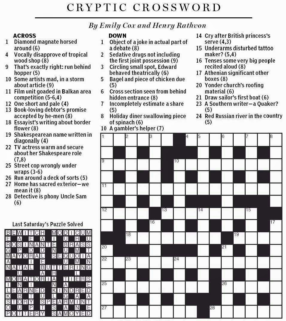 National post cryptic crossword forum april 2014 for Soil 8 letters crossword clue
