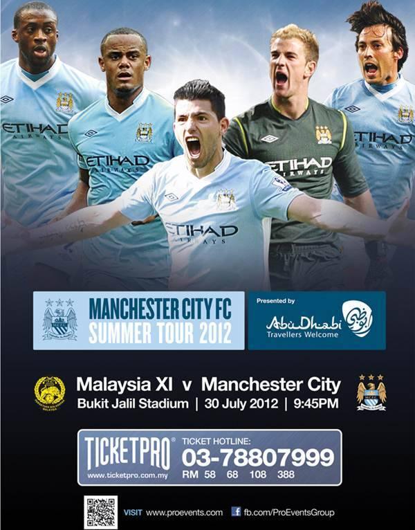Tiket Perlawanan Malaysia vs Manchester City 30 Julai 2012 Cuma RM10 Sahaja