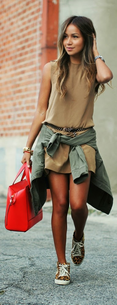 Neutrals , with Army Green , Red Leather Bag and Lepord Sneaker | Chic Street Outfits