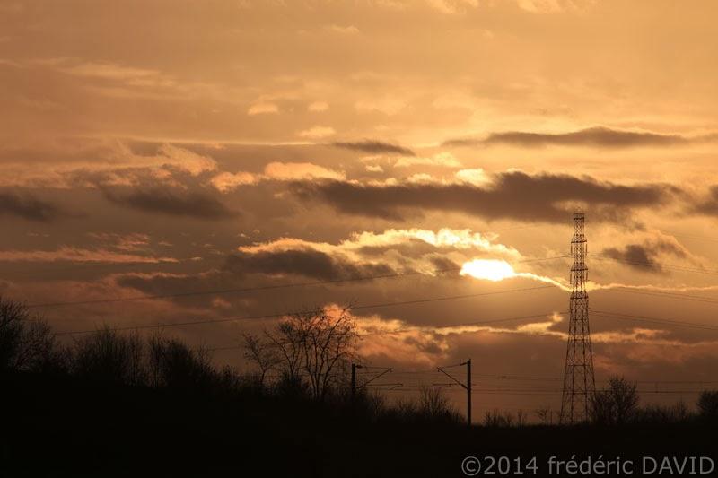 coucher soleil silhouette ciel ligne électrique