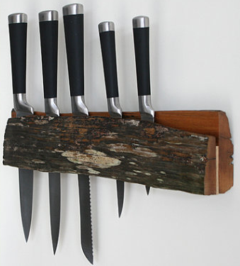 wood wall-mounted knife rack with slot for knives - made from recycled fencing