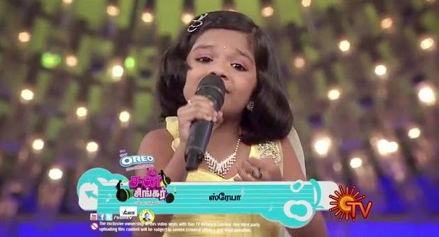 Sun Tv Sun Best Of Singer Season 2 , Chinna Chinna Vannakuyil song – sung by Shreya from Sun Singer ,11-05-2014, Episode 40, 11th May Sun Singer,Sun Tv Show