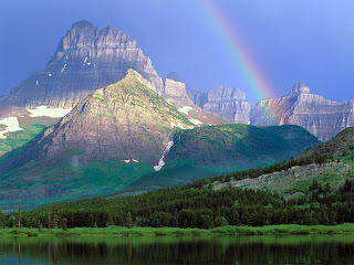 doğa, güzel doğa manzarası, göl kenarı, yüksek dağ, gökkuşağı