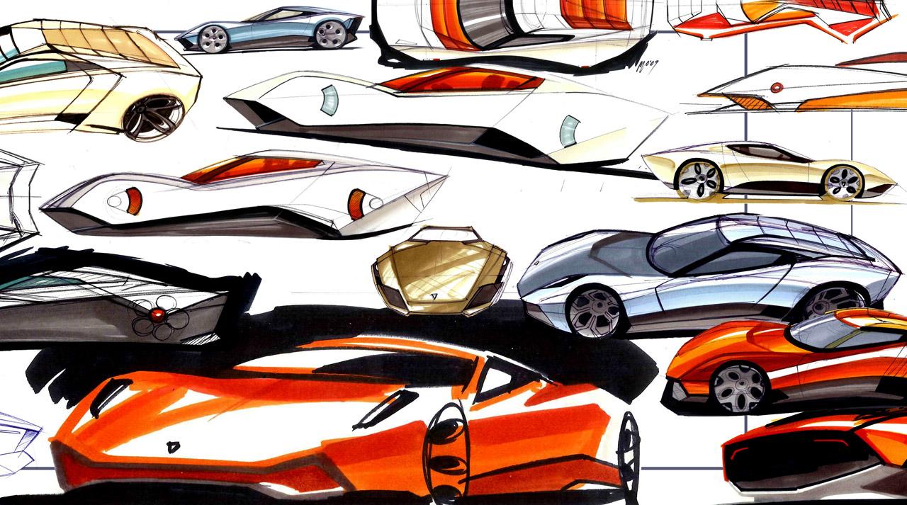 Lamborghini Miura Nuovo Concept 2010 Supercar Sketches Gallery