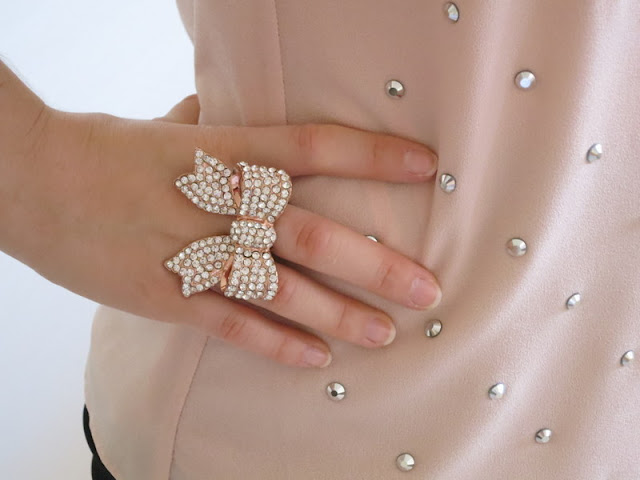 Blush embellished top, sparkly rose gold bow ring