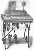 with a treadle, is the Magneto-Printing dial telegraph machine of the period: