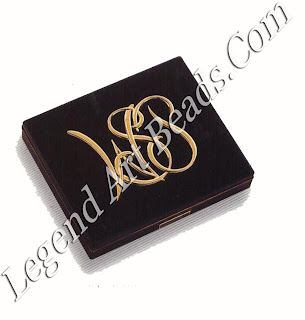 A black and gold cigarette case made for William S. Paley and bearing his monogram, c. 1955