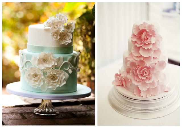mint color cake peony cake