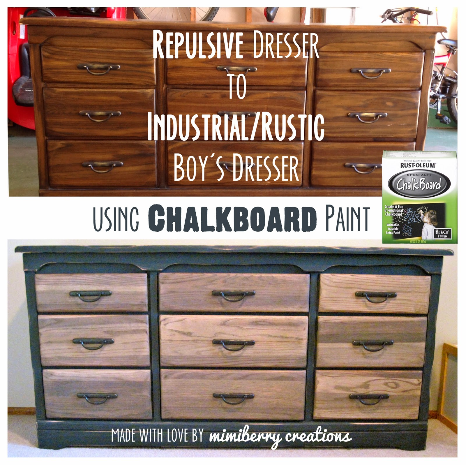 get an industrial/rustic looking dresser (similar to Restoration Hardware) using a small amount of Chalkboard paint. Will make any boys room seem more handsome