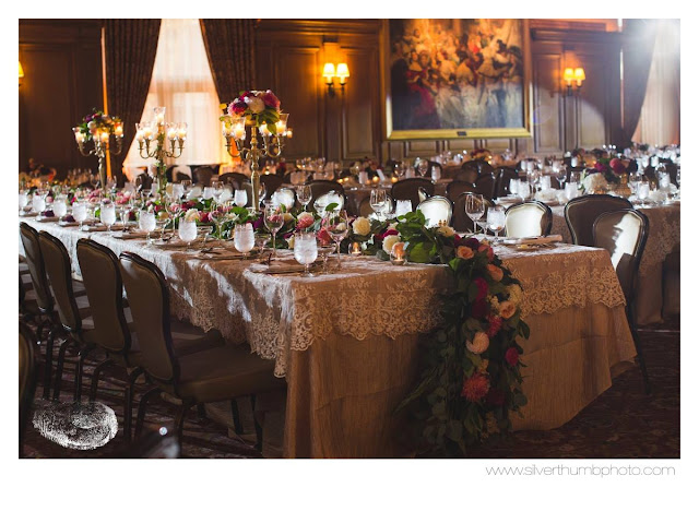 Lush head table foliage garland runner full floral red, blush, coral, peach, plum captains table detroit athletic club sweet pea floral design silver thumb photography