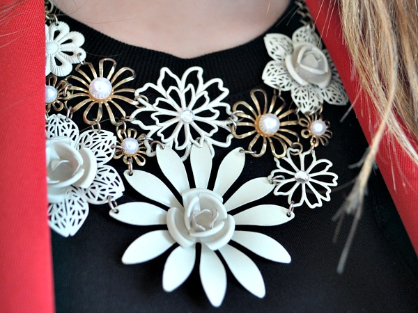 Cream Flower Statement Necklace