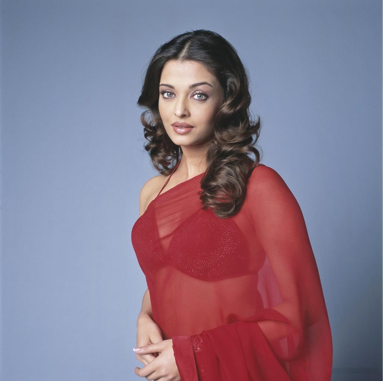 Indian Movie Actress Aishwarya Rai In Red Transparent Sari