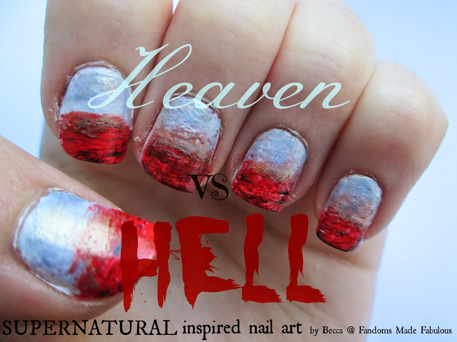 Fandoms made fabulous heaven and hell supernatural inspired for this nail art i wanted to try a gradient a technique ive never done before as well as trying something new i also wanted to do a gradient to prinsesfo Image collections