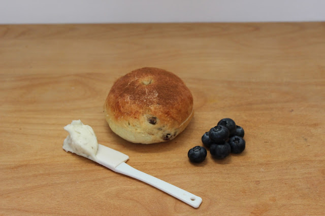Challah Bagel, Raisins, Cinnamon, Berries, Lavender Infused Cream Cheese