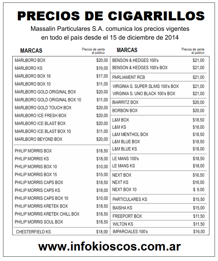La nueva lista de Precio de Cigarrrillos es: