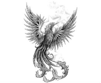 Black and white color phoenix tattoos