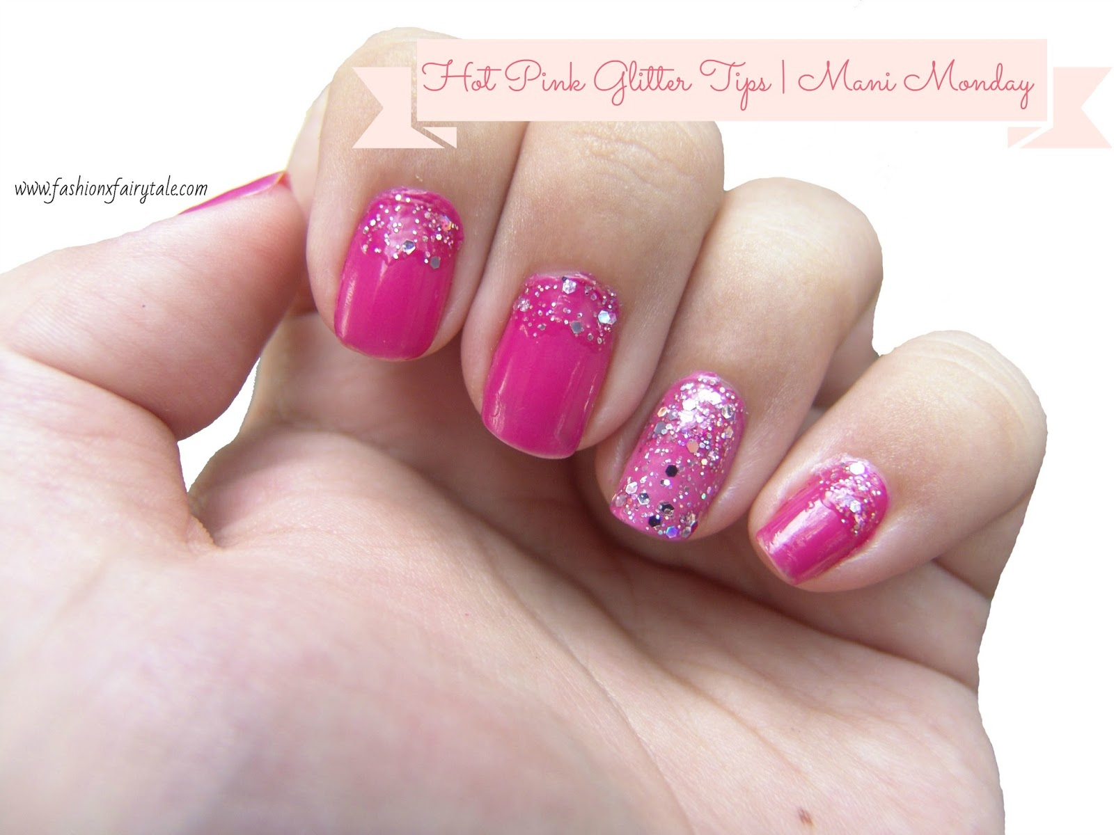 Hot Pink Glitter Tips | Manicure Monday